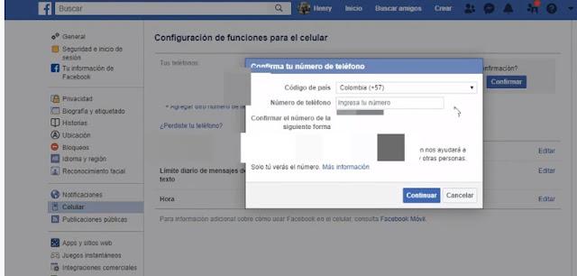 agrega el nuevo numero que quieres tener en facebook  da clic en confirmar