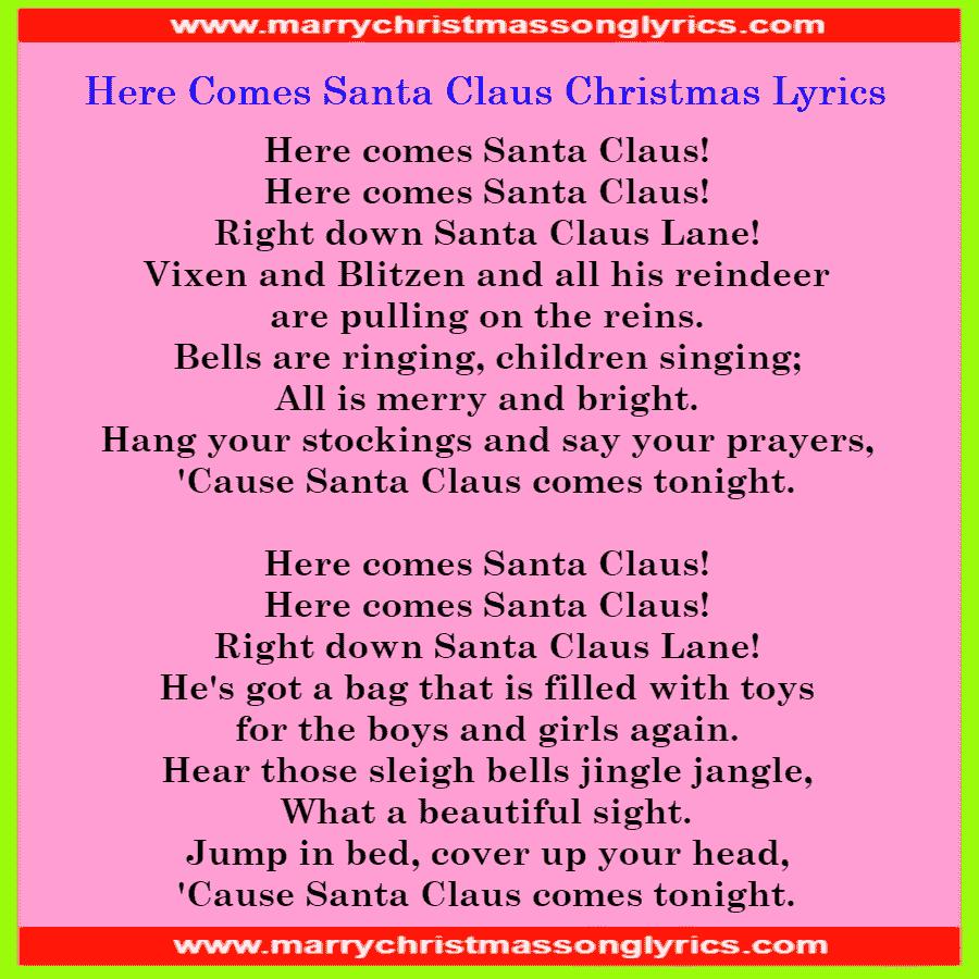 Here Comes Santa Claus Lyrics | Download Pdf File Here Comes Santa Claus