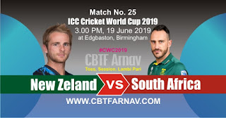 25th Match South Africa vs New Zeland World Cup 2019 Today Match Prediction