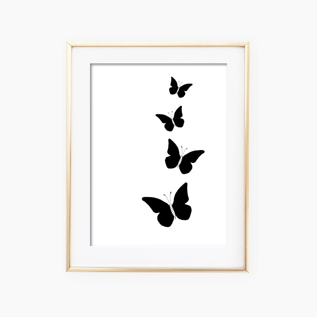 Black Butterflies Ink Art