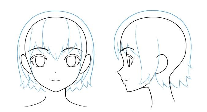 menggambar rambut pada anime