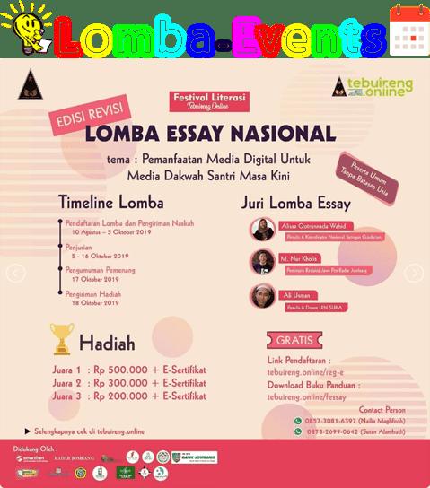 Lomba Essay Nasional Festival Literasi Tebuireng 2019 Umum Gratis