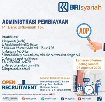 Lowongan Kerja PT Bank BRIsyariah Tbk Bulan Agustus 2020