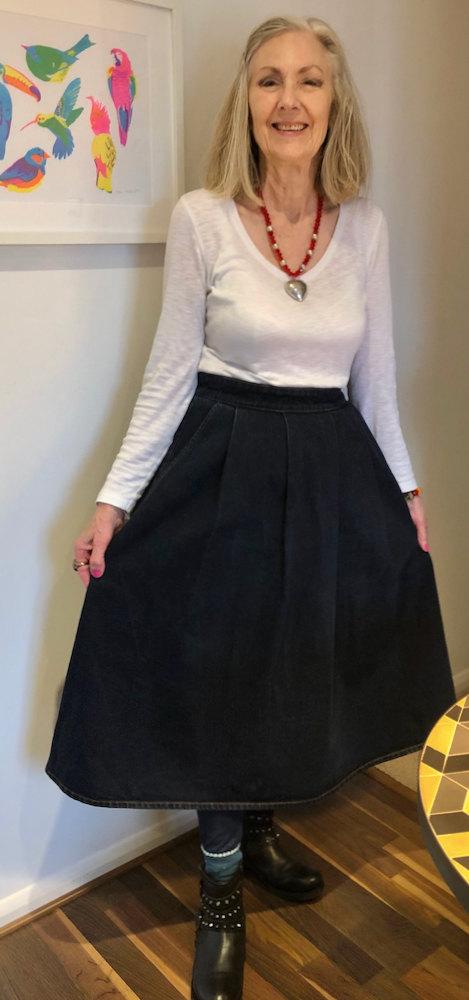 Penny Kocher, over 70s style blogger, in denim midi skirt