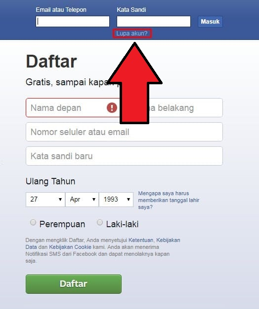 Cara Mengatasi Lupa Kata Sandi Facebook 2020 - Cara1001.com