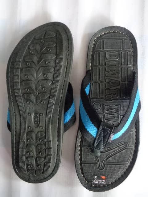 Sandal Spon Dinar MAs Tali hitam biru atas