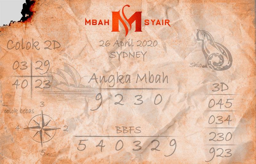 Prediksi Sydney 26 April 2020 - Mbah Syair Sidney