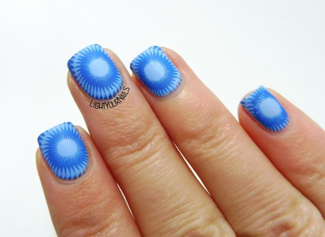 Blue sun nail stamping nailart #lightyournails