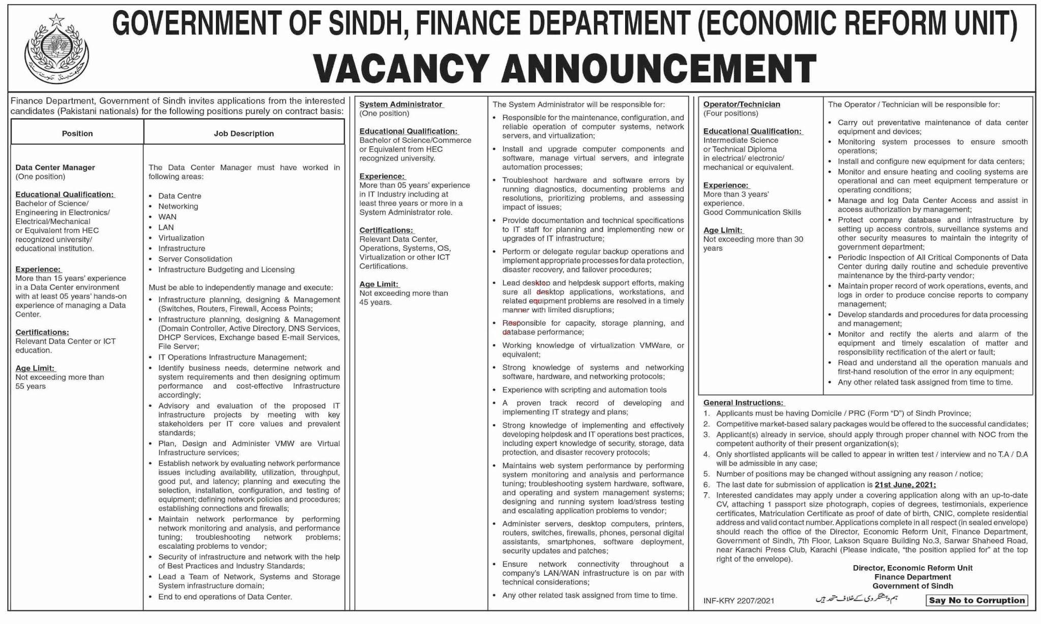 Latest Economic Reform Unit Finance Department Karachi Jobs 2021