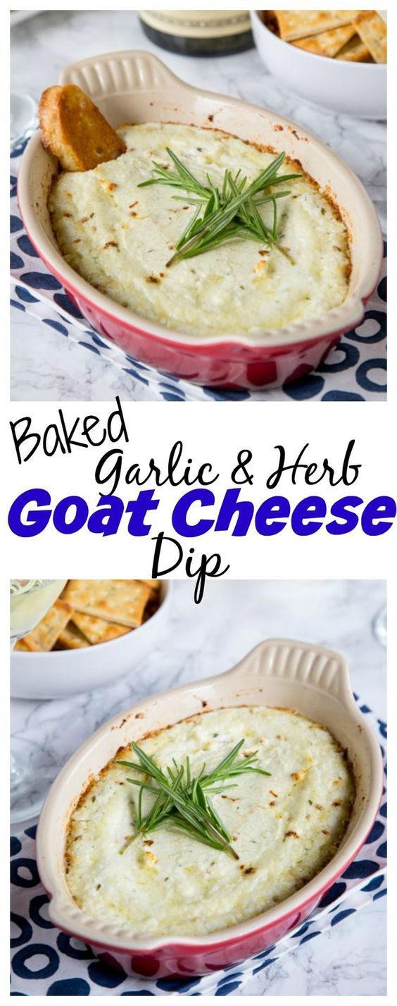 BAKED GOAT CHEESE DIP WITH GARLIC AND HERBS