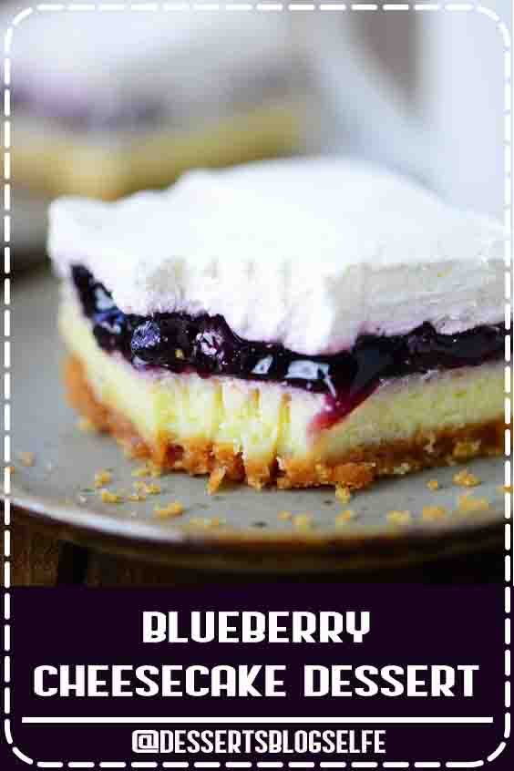 This Blueberry Cheesecake Dessert recipe is my husband's childhood favorite with a light, moist cheesecake topped with blueberry pie filling and whipped cream. #DessertsBlogSelfe #chocolate #SummerDesserts #videos #creamcheeses