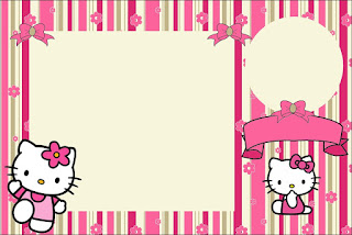 Hello Kitty with Flowers Free Printable Invitations Is it for