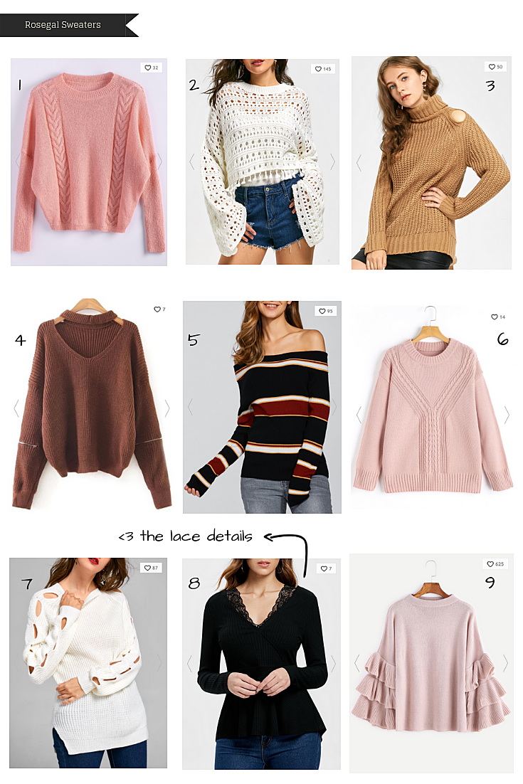 Rosegal sweaters Fall wishlist