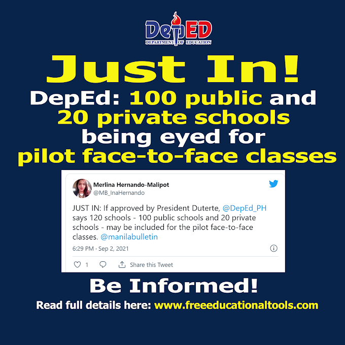 DepEd - DOH eyed 100 public and 20 private schools for pilot face-to-face classes