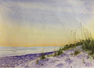 Water colour painting of a sunlit seashore by Manju Panchal