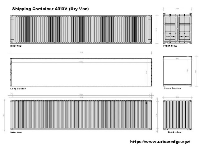 Dry Shipping Container Model Auto cad block