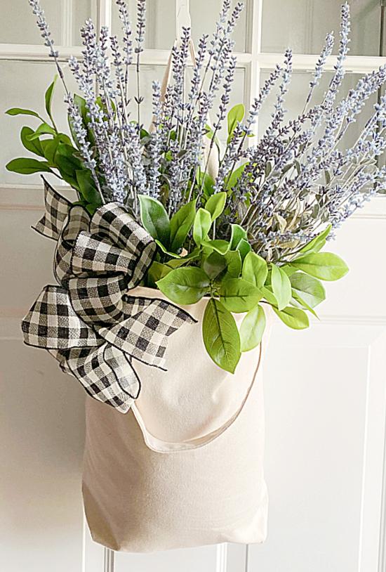 Market basket with flowers on front door