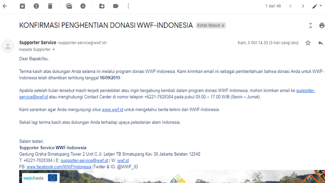Cara Berhenti Langganan Donasi WWF Indonesia