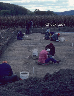 Charles Lucy excavating at the Kennedy Site with the Society for Pennsylvania Archaeology in 1983