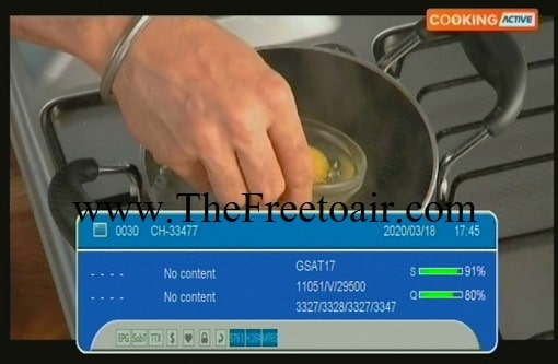 Cooking Active channel temp FTA from GSAT 15