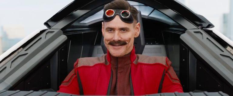 Sosok Jim Carrey yang memerankan Dr. Ivo Robotnik di film Sonic the Hedgehog