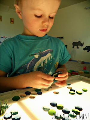 J examining the glass stones of the frog pond from And Next Comes L