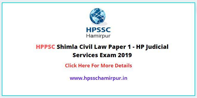 HPPSC Shimla Civil Law Exam Question Paper 1 - HP Judicial Services Exam 2019