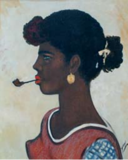 Mujer con cachimba