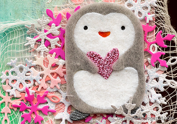 Layers of ink - Pink Penguin Tag Tutorial by Anna-Karin Evaldsson. SSS Picture Book Hugging Penguin.