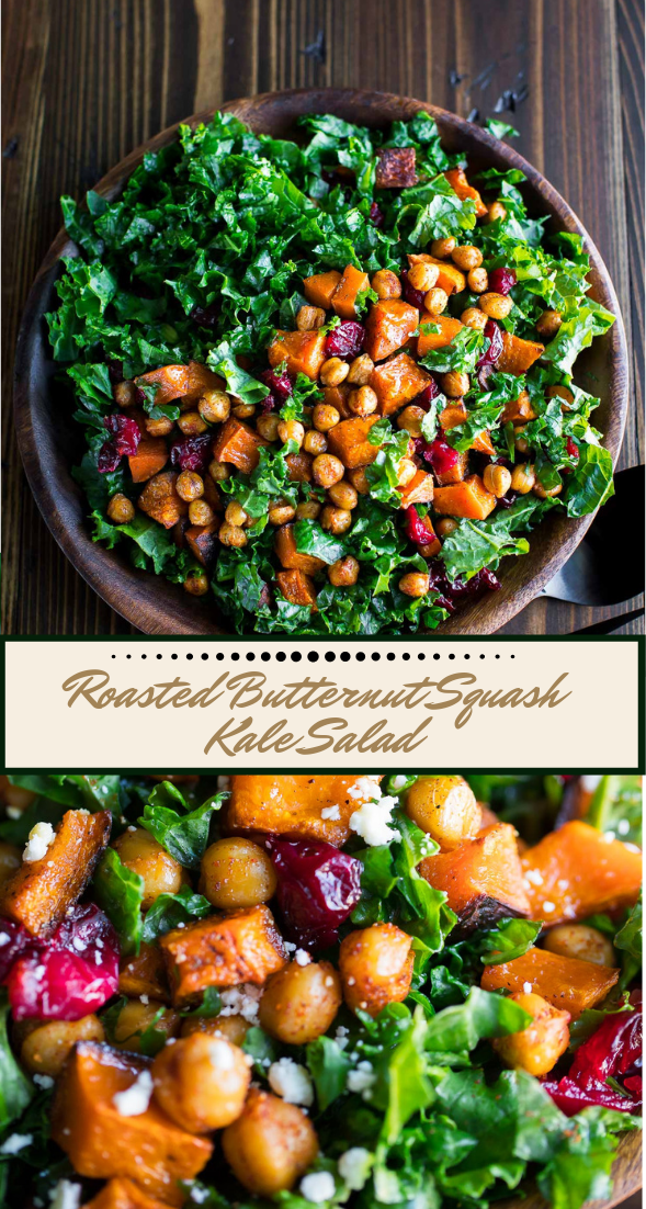 Roasted Butternut Squash Kale Salad #vegan #vegetarian #soup #breakfast #lunch