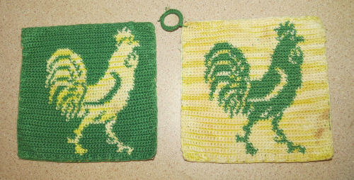 crocheted rooster potholders