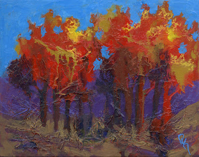 abstract tree painting autumn red painting mixed media