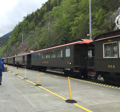 White Pass and Yukon Railroad train waiting for passengers at the dock at the cruise ship port