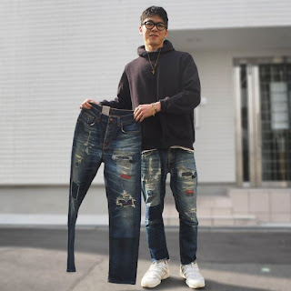 jeans, denims, old, used, repaired