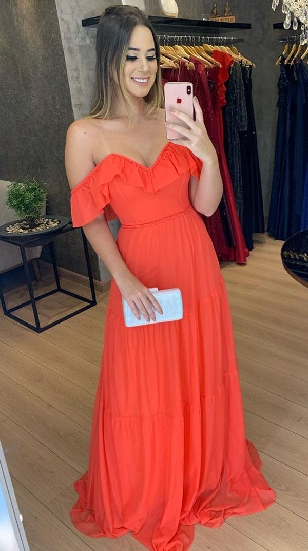 vestido de festa longo laranja fluido para casamento diurno