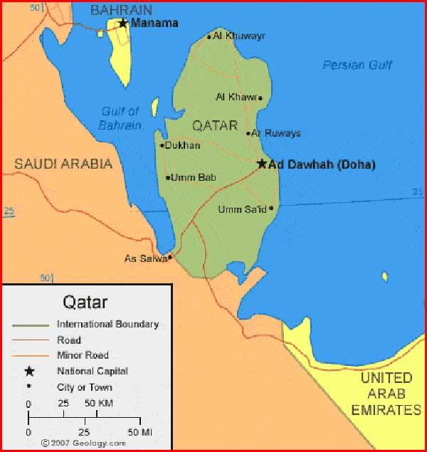 Gambar Peta Qatar