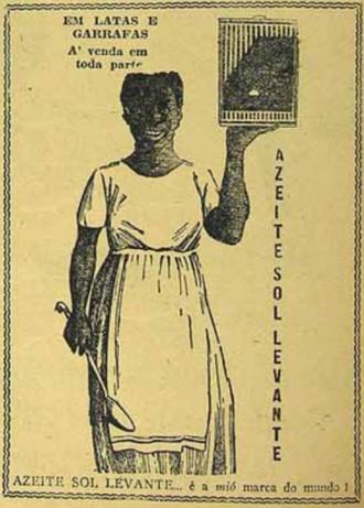 Propaganda dos anos 20 do azeite Sol Levante com particularidades sociais da época