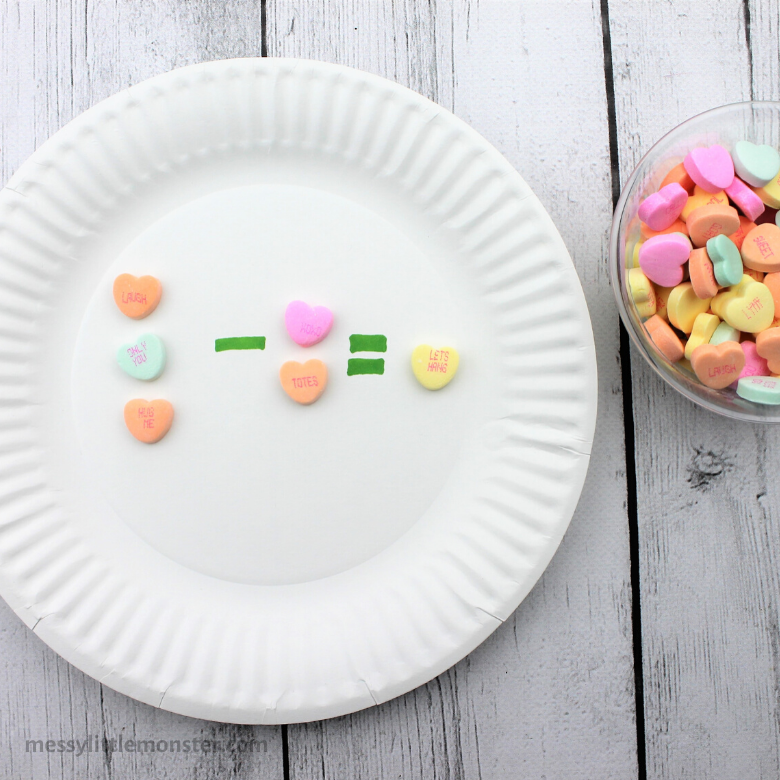 Valentine conversation heart math activities