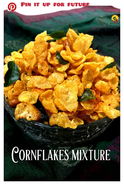 Cornflakes chiwda is a very crunchy snack made using cornflakes / Makaai Poha as it is called locally. Makai poha , makaai chivda , corn flakes mixture , farsan , diwali farsan , makaai chiwda , makaai chidwa