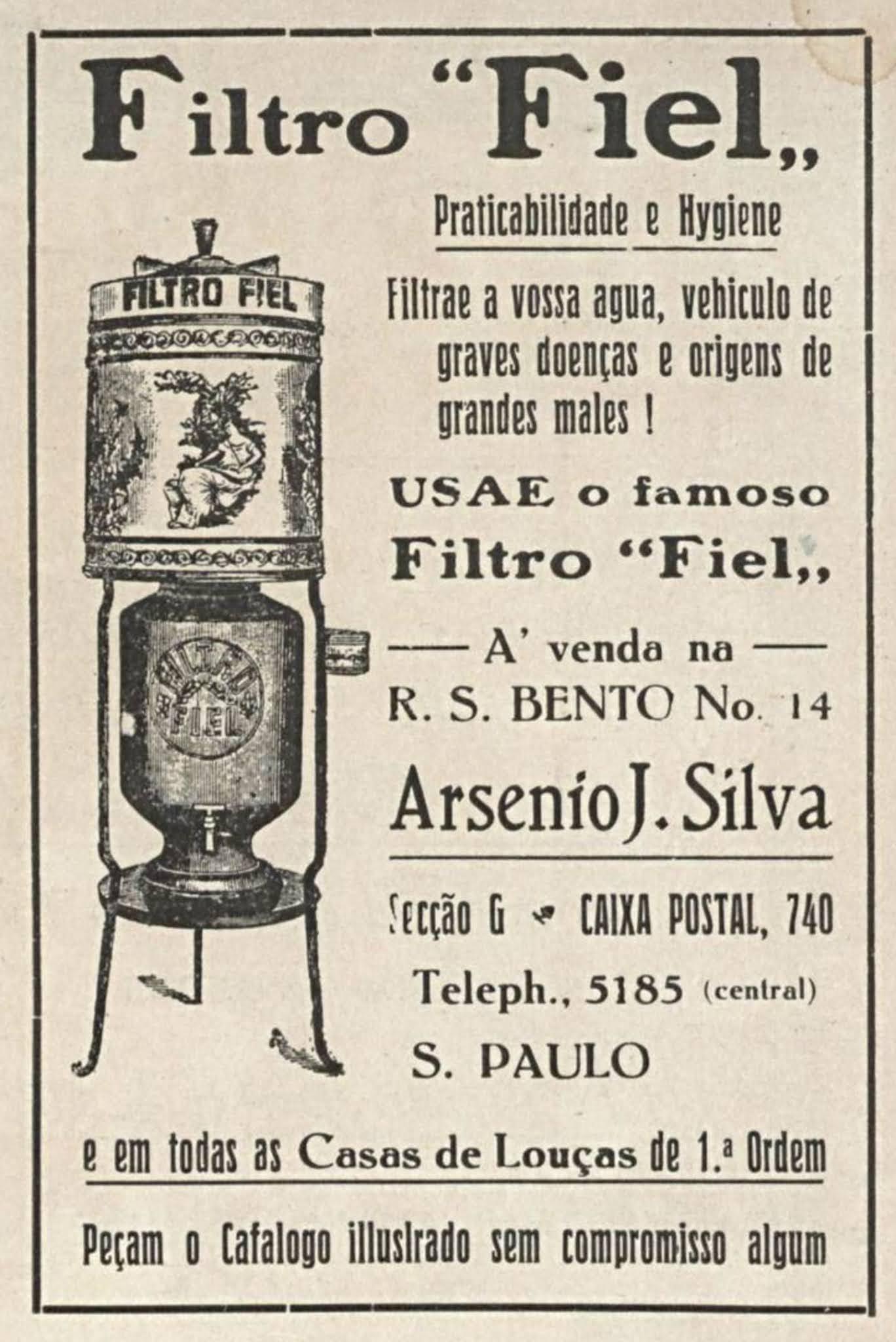 Anúncio de 1918 promovendo o Filtro Fiel para purificação da água