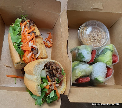 Le Bleu pork banh mi and summer rolls