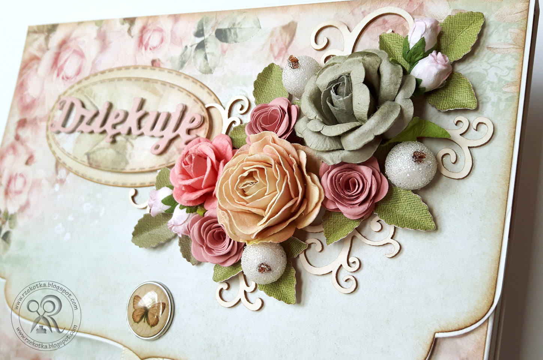 Ręcznie robione pudełko na Merci z kwiatkami