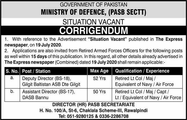 Ministry Of Defence Govt of Pakistan Job Advertisement in Pakistan Jobs 2021-2022