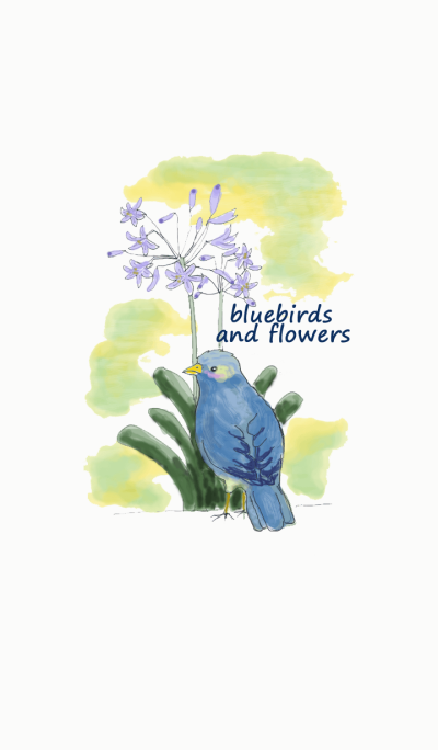 BLUEBIRDS AND FLOWERS
