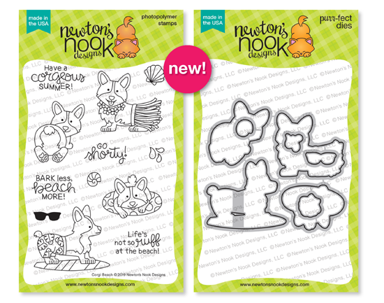 Corgi Beach | Corgi Dog Stamp Set by Newton's Nook Designs #newtonsnook