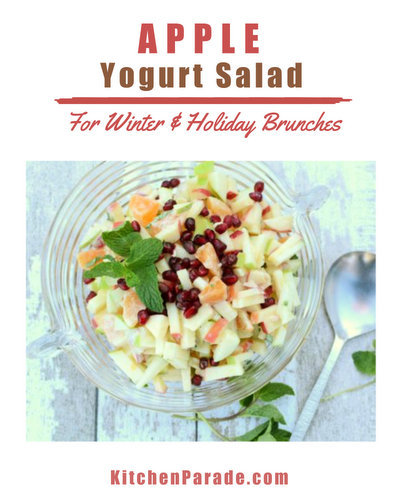 Apple Yogurt Salad ♥ KitchenParade.com, a winter fruit salad, just apples with Greek yogurt, tangerines, pomegranate, fresh mint and a touch of cardamon. Great for winter brunches, Christmas morning, light holiday desserts. Weight Watchers Friendly. Weeknight Easy, Weekend Special. Gluten Free.