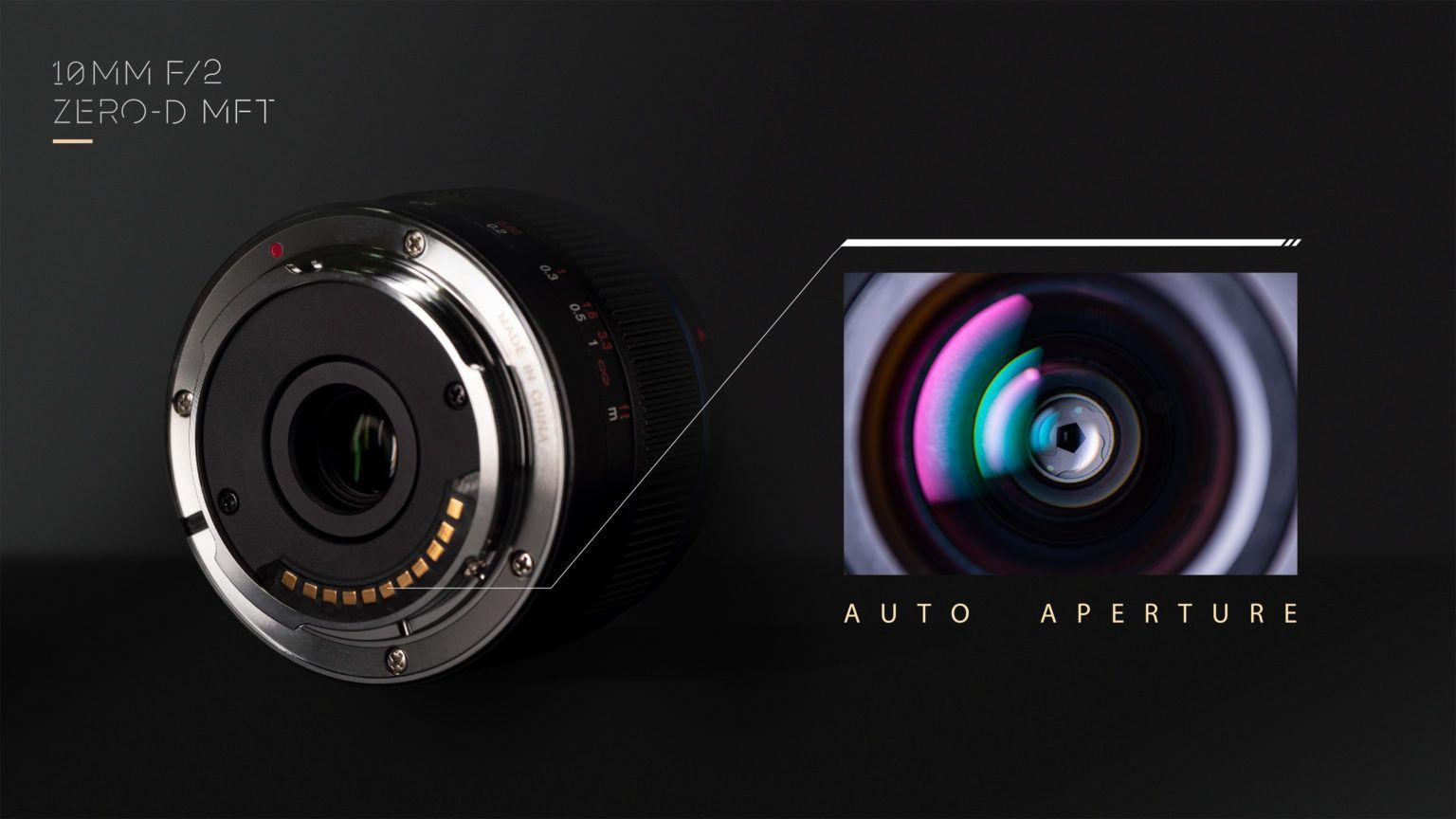 Управление диафрагмой объектива Laowa 10mm f/2 Zero-D MFT реализовано через меню камеры