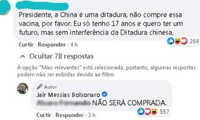 Bolsonaro diz que não comprará vacina Coronavac