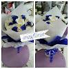 Bunga Tangan Mawar Putih mix Biru