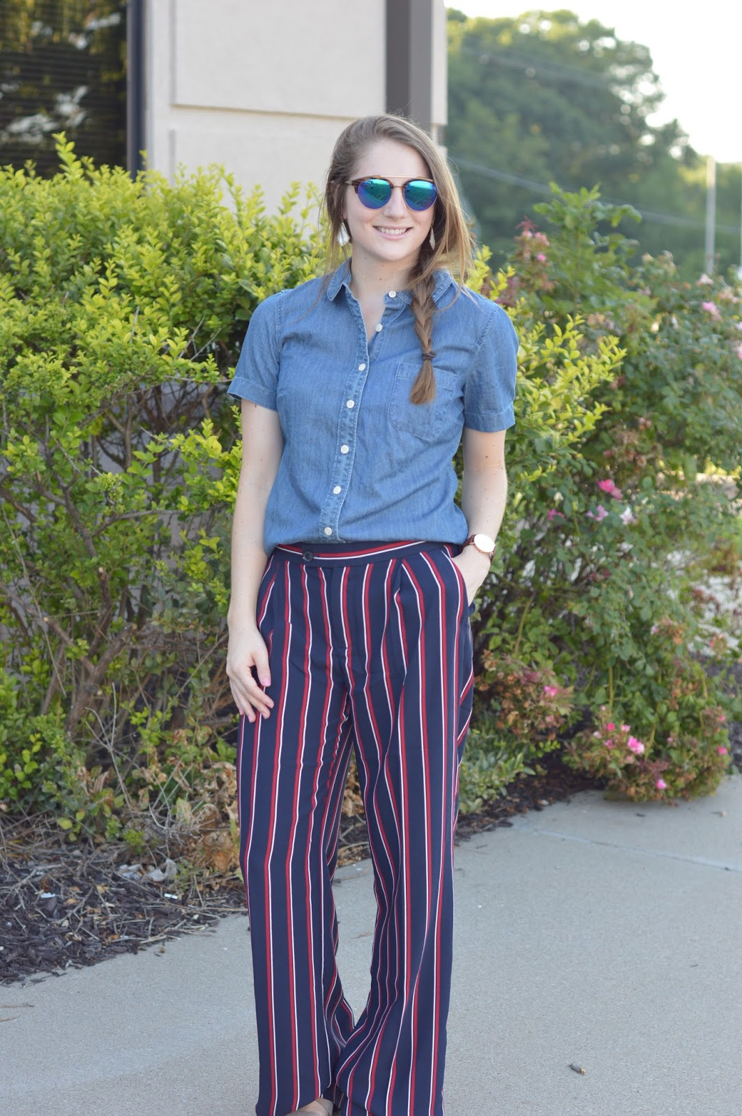 how to style striped dress pants | striped dress pants with a chambray top | new ways to style a chambray top | how to dress for work and still look cute | how to keep your personal style in a business environment | a memory of us